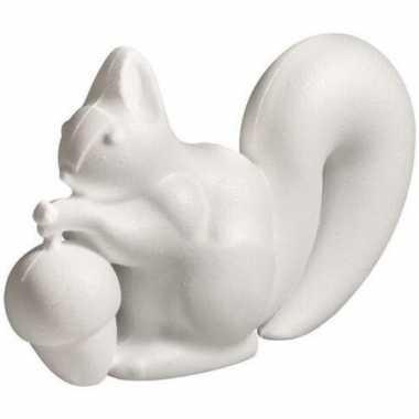 1x stuks hobby/diy piepschuim eekhoorn 18 cm