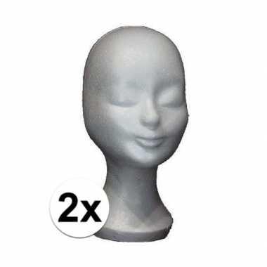 2 stuks piepschuim hoofd pruikenstandaard 30 cm