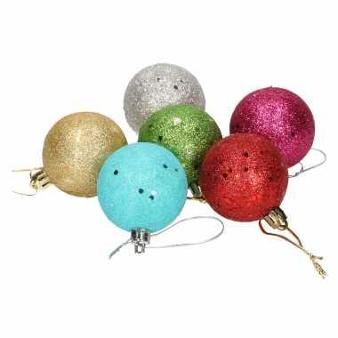 24x gekleurde glitter kerstballen van piepschuim 5 cm