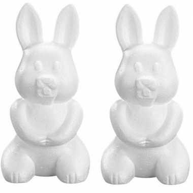 2x piepschuim haas/konijn 23 cm