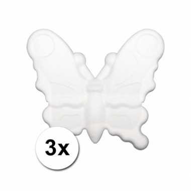 3 piepschuim vlinders 12,5 cm