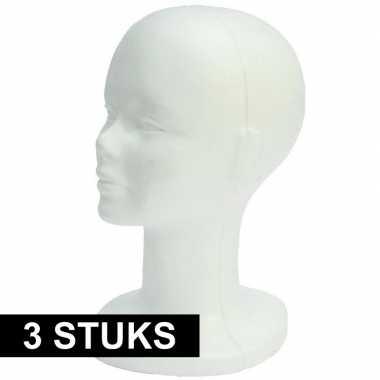 3x piepschuim hoofden 30 cm