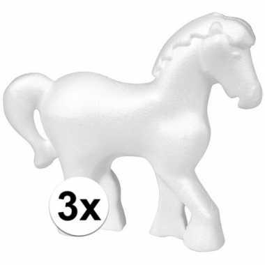 3x piepschuim paarden 15 cm