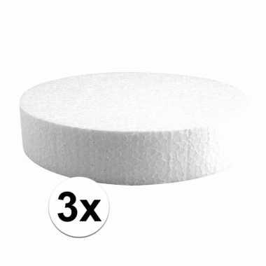 3x piepschuim schijf 20 cm breed en 4 cm dik