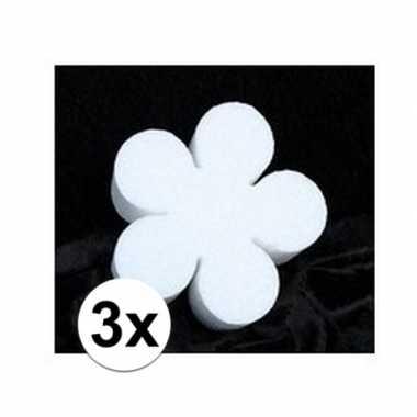 3x piepschuim vorm figuur bloem 10 cm