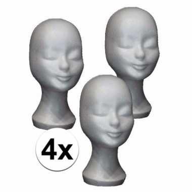 4x piepschuim hoofd 30 cm