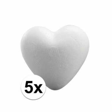 5x piepschuim hartjes van 5 cm