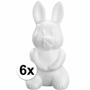 6x piepschuim haas/konijn 23 cm