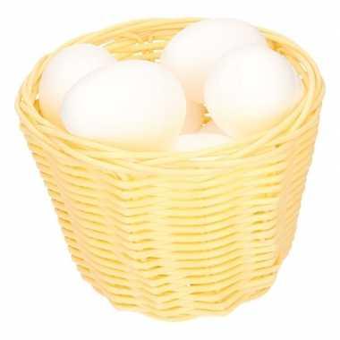 Beige paasmandje met piepschuim eieren 14cm