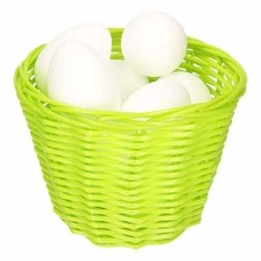 Groen paasmandje met piepschuim eieren 14cm