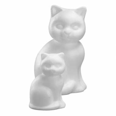 Set van 8x stuks piepschuim katten figuur van 13 cm
